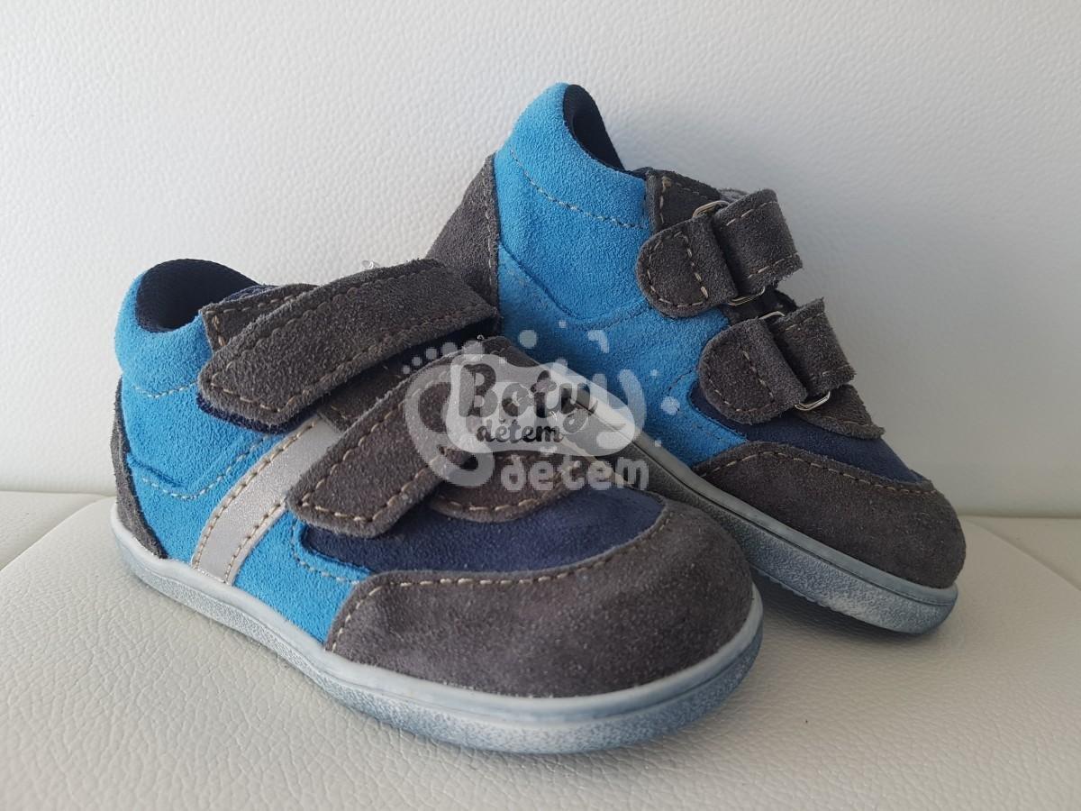 c7fe3d0b14c Celoroční kožená obuv Jonap 051 velcro light šedá tyrkys - v nabídce ...