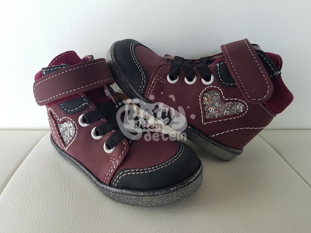 Jonap kožené boty 050 M velcro vínová srdce - v nabídce značky ... 9d22711fb4