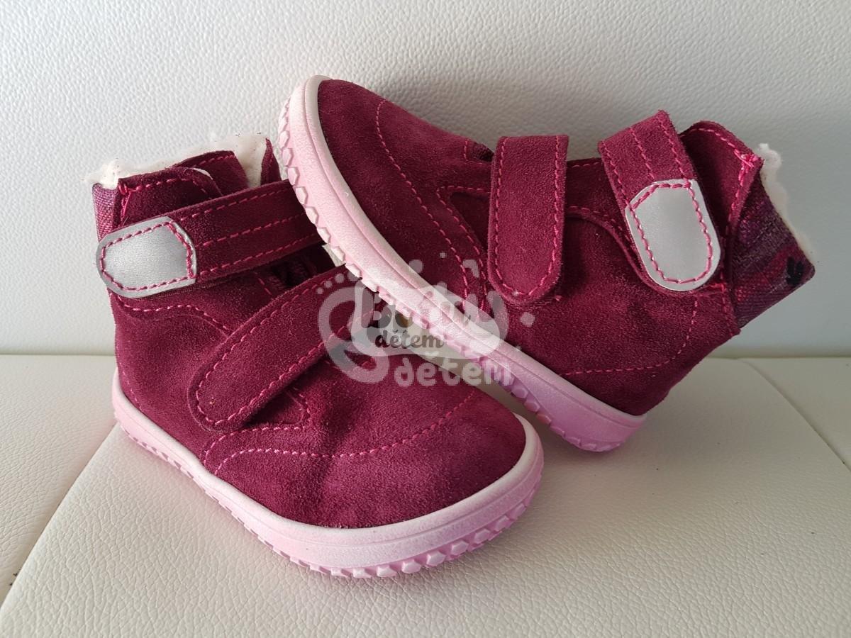 78c1d3fffe2 Jonap zimní kožené barefoot boty s membránou B5 vínová-maskáč - v ...