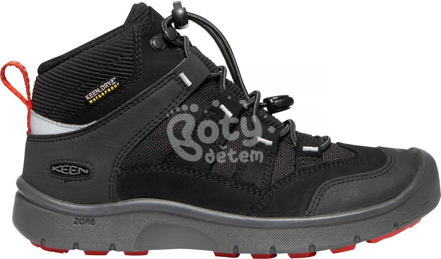 Boty KEEN Hikeport Mid WP JR c-black/bright red